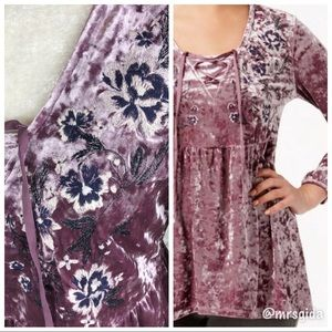 Style & Co Embroidered Velvet Peasant Top | S